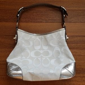 Coach Peyton Sateen Metallic Hobo Bag White Silver